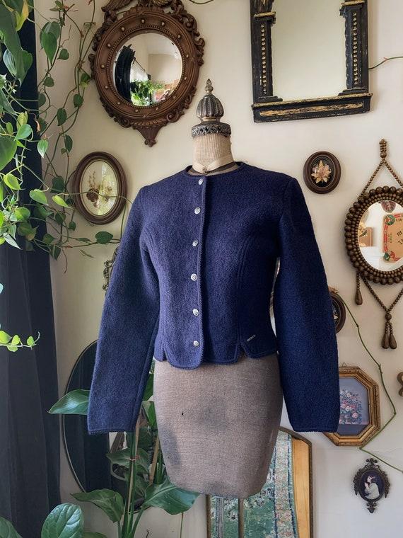 Vintage 1980s Geiger Navy Blue Cardigan Sweater