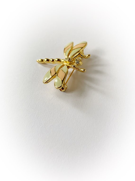 Vintage Dragonfly Brooch Gold Tone Metal with Rhinestone Eyes Pink and Green Enamel Wings