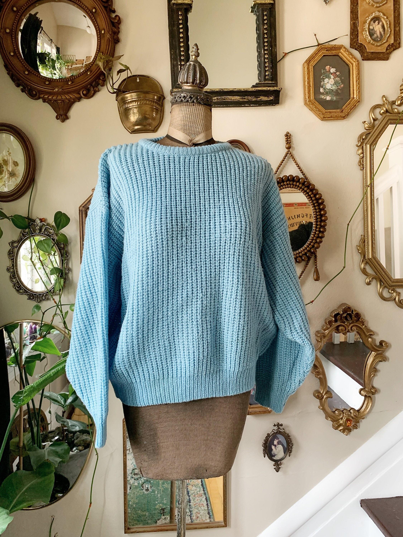 80s Sweatshirts, Sweaters, Vests | Women Vintage 1980S Acrylic Sky Blue Sweater Size Large $39.99 AT vintagedancer.com