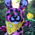 Pink Pet Cheetah Bandito plushie. Stuffed Jason Statham animal. Twenty One Pilots inspired toy. Trench TØP Skeleton Clique merch