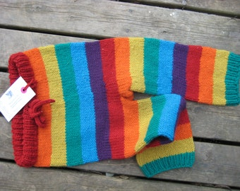 Rainbow Wool Longies - Made to order in baby to toddler sizes.