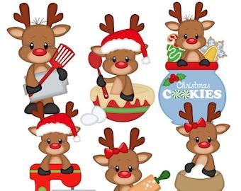 Sweets For Santa Reindeer Clipart Instant Download Digital PNG Clip Art Scrapbooking