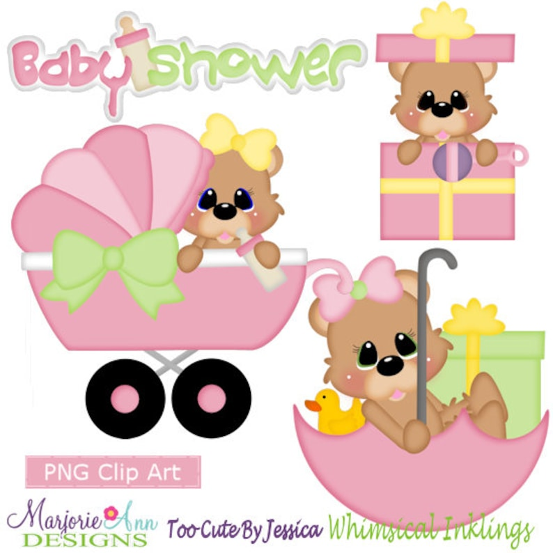 Baby Shower Bears Girl Clipart Instant Download Digital Etsy