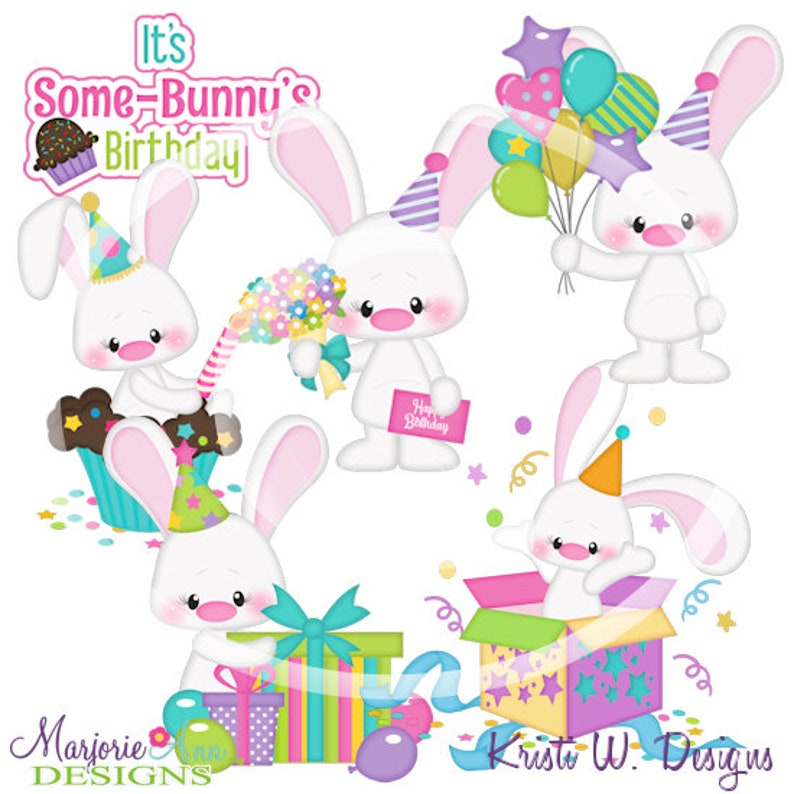 Bunny Birthday Clipart-Instant Download-Digital Clipart-Birthday clip art-first birthday-cute bunny-birthday balloons-cupcake