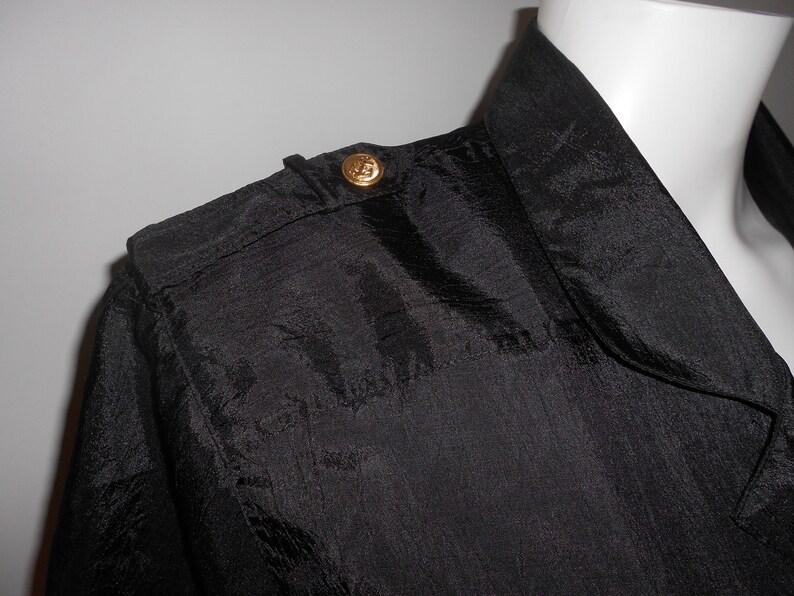 Vintage 90s ESSEX JUNCTION Nautical Blouse Black Shirt Short Sleeves 12 L Pockets