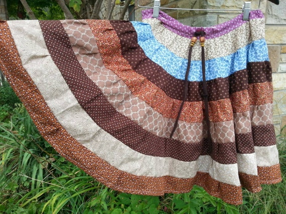 Handmade Upcycled Material Tiered Skirt x-xx large for winter country farm hippie drawstring eco friendly great gift