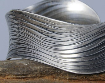 Eco Friendly Sterling Silver Cuff Bracelet Overlapping Waves