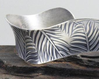 Eco Friendly Leaves Sterling Silver Bracelet, Palm Leaf Cuff, Fern Leaves Bracelet