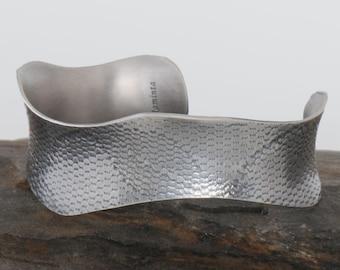 Embossed Lace Silver Bracelet Cuff, One of a Kind Cuff, OOAK bracelet, Wavy Cuff