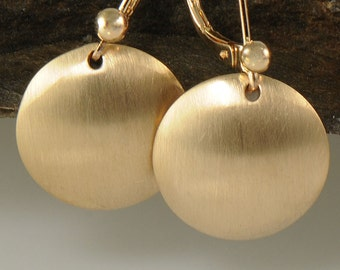 Brushed Gold Earrings, 14K Gold Filled Disk Earrings