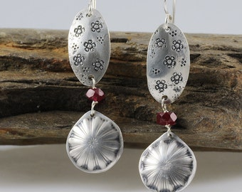 Southwestern Sterling Silver Earrings, Flower Earrings