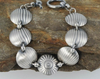 Silver Disk Bracelet for Small Wrist, Sterling Silver Bracelet, Sunburst Bracelet, Wave Bracelet