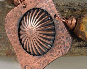 Earthy Necklace, Copper Necklace, Copper Pendant on Leather Cord