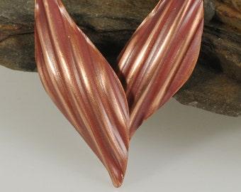 Copper Leaf Earrings, Copper Earrings, Leaf Earrings, Leaf Jewelry