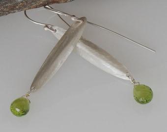Peridot Earrings, Oval Earrings, Green Stone Earrings, Recycled Sterling Silver Earrings, Eco Friendly Silver Earrings