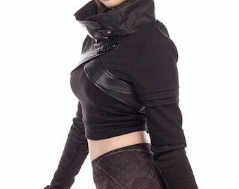Plutonium, cyberpunk, anime inspired cropped jacket with cowl neckline by Plastik Wrap. All sizes.