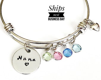 Nana Gift, Nana Bracelet, Nana Birthstone Bracelet, Birthstone Jewelry, Gift for Nana from Grandkids, Charm Bangle, Wire Bracelet