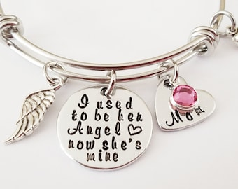Memorial Bracelet, I used to be her angel now she's mine, In Memory of Mom, Memory Jewelry, Memorial Jewelry, Remembrance Jewelry, Angel