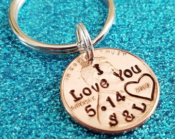 Valentines Day Gift for Husband or Boyfriend, I Love You, Penny Keychain, Hand Stamped Penny, Personalized Penny, Husband Anniversary Gift