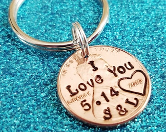 Boyfriend Gift , I Love You, Penny Keychain, Hand Stamped Penny, Personalized Penny, Anniversary Gift, Husband Anniversary Gift
