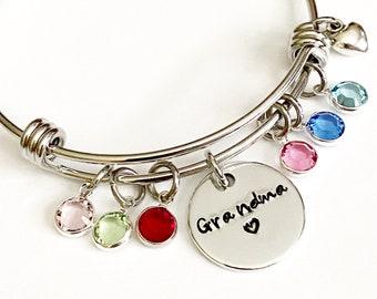 Personalized Grandma Bangle Bracelet - Grandma Birthstone Bracelet, Grandma Gift, Grandma Jewelry, Nana Bracelet, Custom Grandma Gift