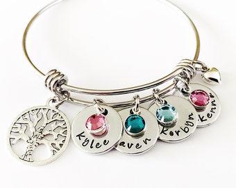 Personalized Family Tree Bracelet, Grandkid Bracelet, First Time Grandma, Nana Bracelet, Grandma Bracelet, Mother Bracelet, Bangle Bracelet