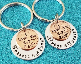 Anniversary Gift for Boyfriend, Husband Anniversary, 1 yr Anniversary Keychains, 7 yr anniversary, Personalized Penny Keychains, I Love You