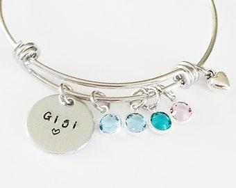 Personalized Birthstone Bangle Bracelet, Christmas gift for Grandma, Custom Grandchildren gift  for Grandma, Nana, Gigi, Meme Jewelry