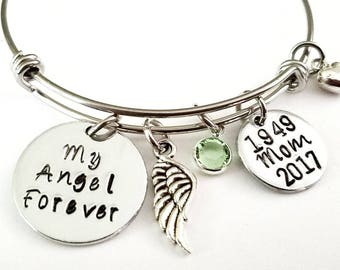 My Angel Forever Memorial Bracelet, Memorial Jewelry, Remembrance Jewelry, Memory of Dad, Memory of Mom, Charm Bangle, Sympathy Gift