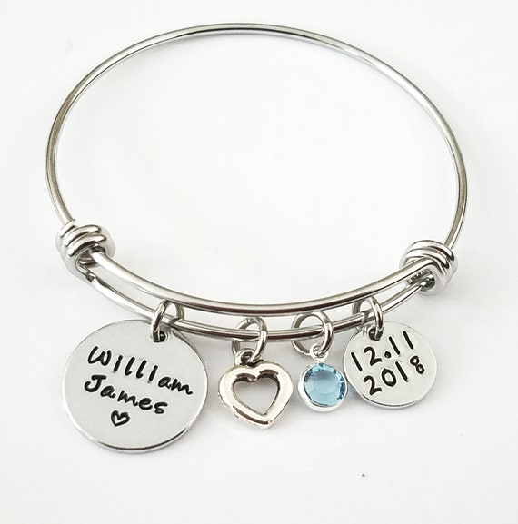Personalized MOM Child/'s Name Birthstone charm wire Bracelet Mother/'s Day gift
