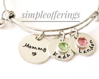 Personalized Mothers Day Gift for Grandma, Mom, Nana, Bracelet with kids names, Grandchildren Birthstone Bracelet, Grandma Jewelry, Mom Gift