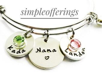 Personalized Nana Bracelet - Hand Stamped Nana Bracelet, Nana Bangle, Nana Gift, Grandma Jewelry, Nana Jewelry, Mothers Day Gift