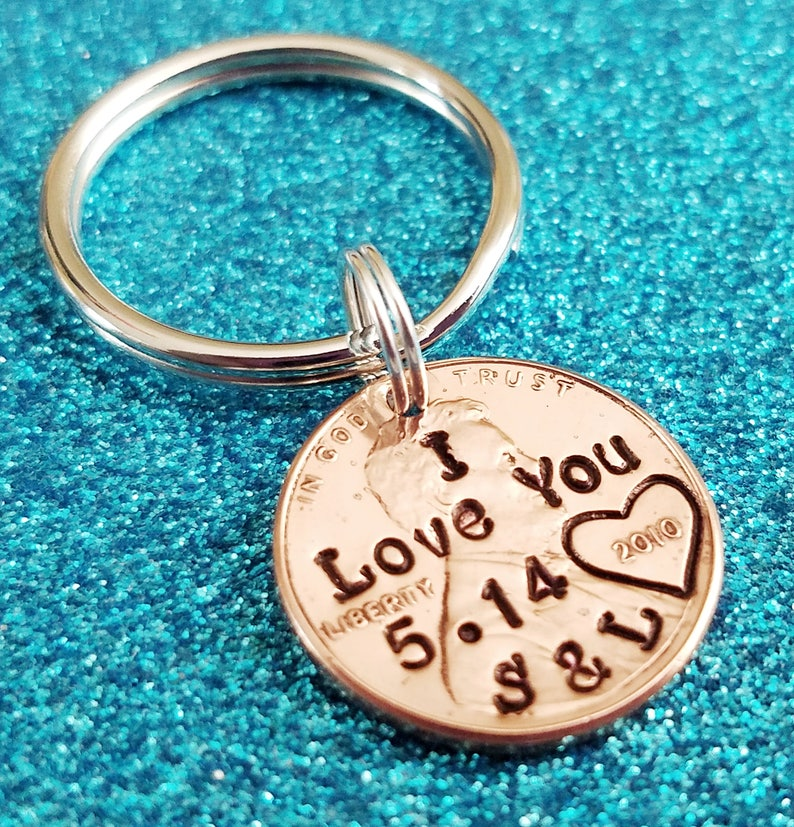 Boyfriend Gift  I Love You Penny Keychain Hand Stamped image 1