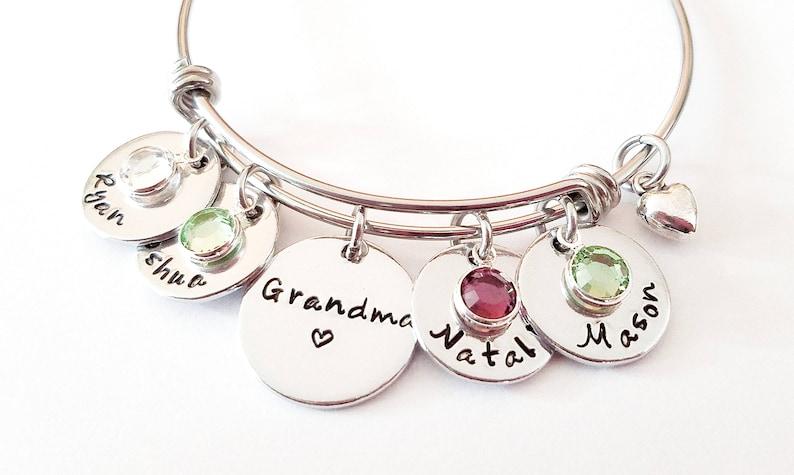 Personalized Grandma Bangle Bracelet  Hand Stamped Grandma image 0