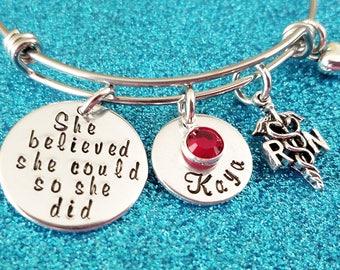 RN Bangle Bracelet, RN Graduation Gift, Registered Nurse Gift, rn Gifts, Nurse Bracelet, Personalized RN bracelet, Registered Nurse Gift