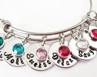 Personalized Mother's Bangle Bracelet, Family Names and Birthstones Bracelet, Grandma or Nana Gift, Mothers Day Gift, Kids Names Bracelet