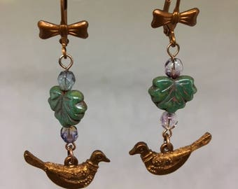 Gingerbread Brass Lever Back Bird Green Glass Leaf Pierced Earrings