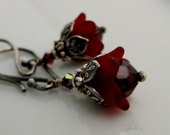 Tiny Garnet Flower Earrings, January Birthday, Winter Wedding, Bridesmaids Earrings