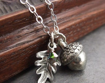 Silver Acorn Necklace,  Acorn Pendant, Acorn Jewelry, Birthstone Jewelry, Sterling silver chain