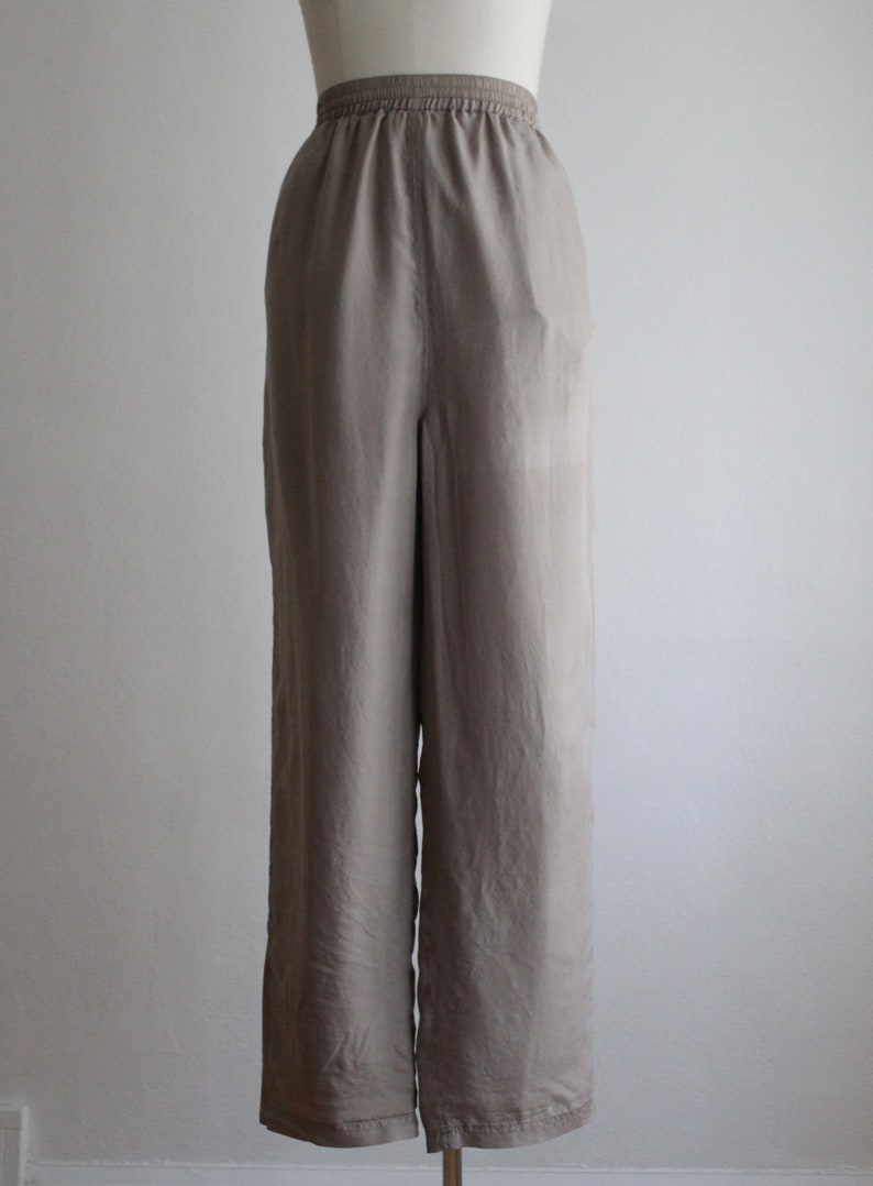 oyster silk trousers