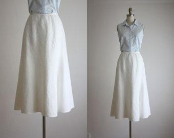 eggshell linen skirt