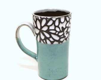 Tall Mug , White and Turquoise Modern Floral, by Lockwood Ceramics