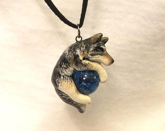 Grey Wolf Necklace Pendant with marble