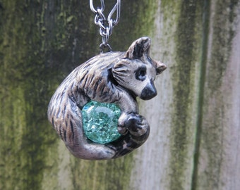 Ring Tailed Lemur Necklace Pendant Polymer Clay