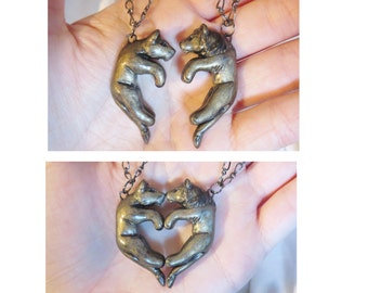 Lion Lioness Love Necklace His and Hers Heart Kissing Couple