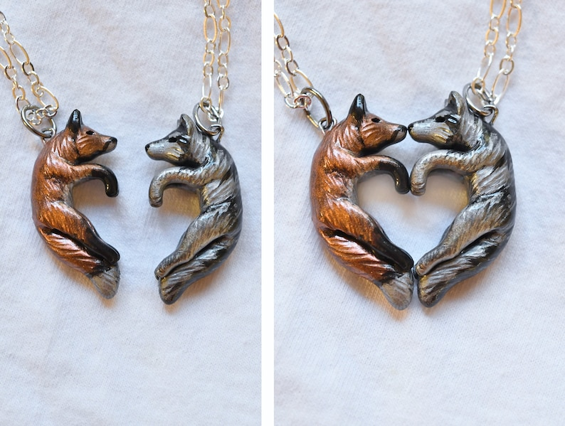 Wolf and Fox Love Necklace His and Hers Heart Kissing Couple image 0