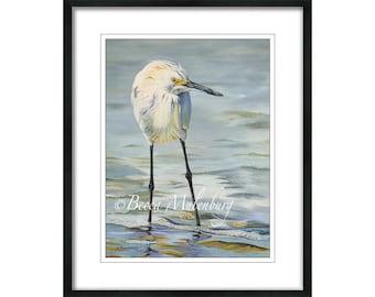 bird fine art print Snowy Egret beach white wildlife nature