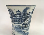 Vintage Chinoiserie Blue and White Porcelain Cachepot Planter