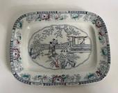 Antique English Transferware Chinoiserie design Platter