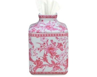 Handpainted Chinese Pink and White Porcelain Tissue Box Cover Holder / Chinoiserie
